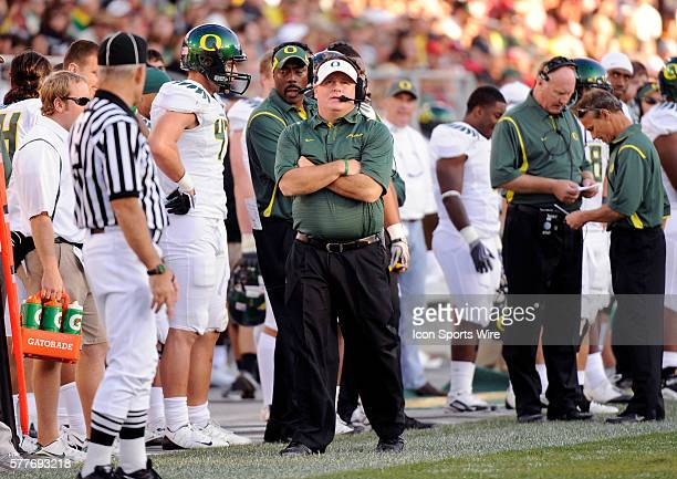 Oregon head coach Chip Kelly watches the clock in the fourth quarter as the Stanford Cardinal defeated the Oregon Ducks 51-42 in a Pac-10 Conference...