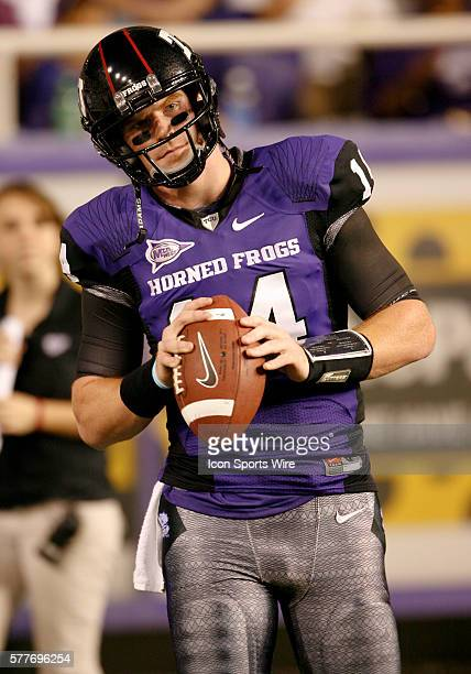 TCU quarterback Andy Dalton during pre game warmups before the football game between Utah Utes and TCU Horned Frogs at TCU's Amon Carter Stadium Ft...