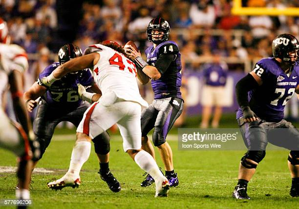 TCU quarterback Andy Dalton sets up to pass during the first half the football game between Utah Utes and TCU Horned Frogs at TCU's Amon Carter...