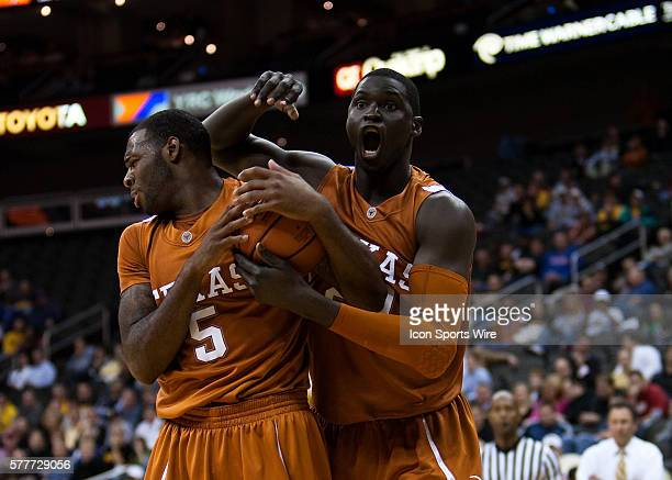 Texas Longhorns forward Alexis Wangmene reacts to a call during the O'Reilly Auto Parts CBE Classic Championship Rounds The Texas Longhorns defeated...
