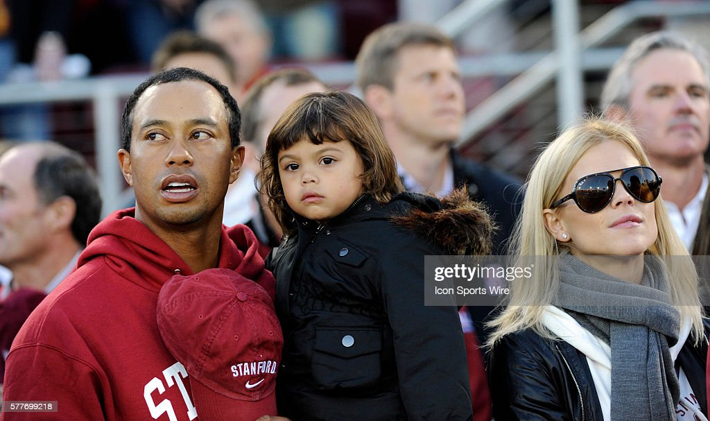 tiger woods   daughter sam alexis woods  and wife elin