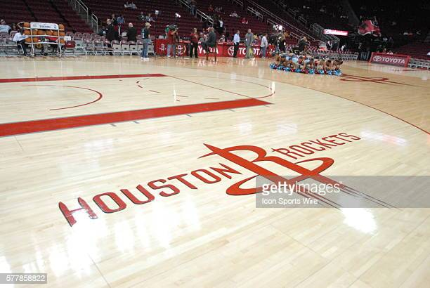 Rockets floor logo prior to 99 - 98 win over Oklahoma City at the Toyota Center in Houston, TX.