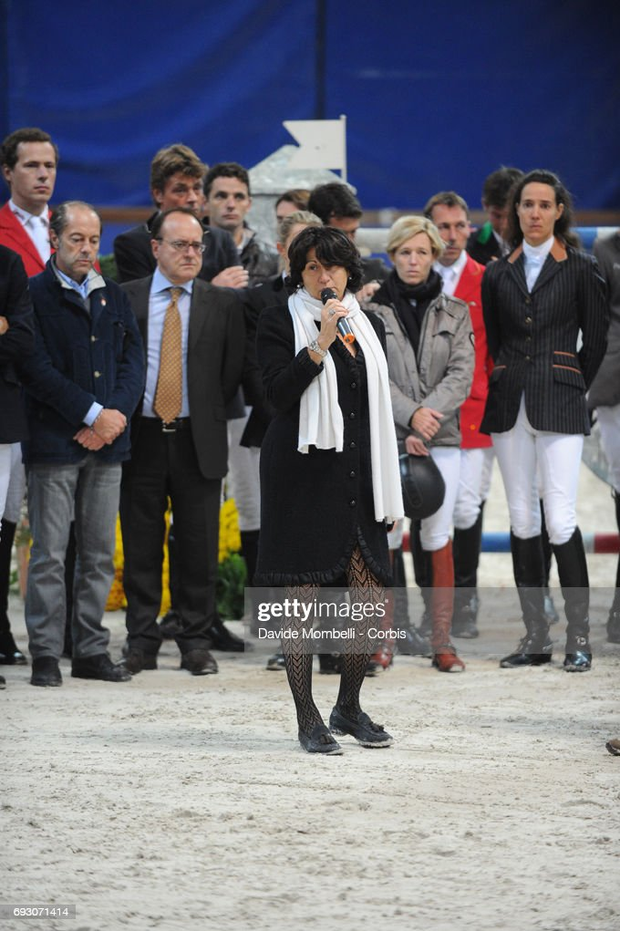 Organizer Eleonora Ottaviani, announces the suspension of the competition following the fatal fall of Hickstead ridden by Eric Lamaze during Jumping Verona 2011 on November 6, 2011 in Verona, Italy.