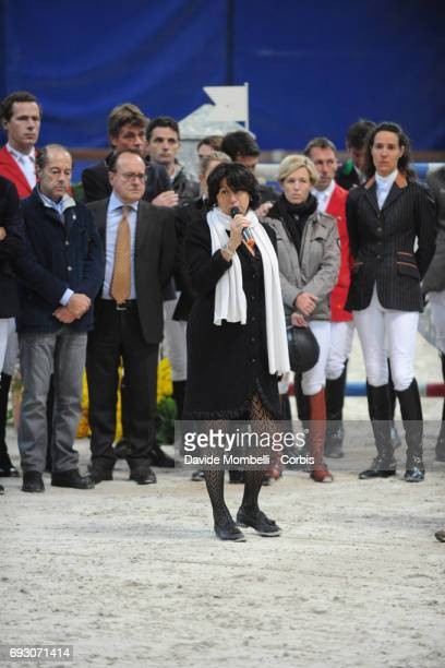 Organizer Eleonora Ottaviani announces the suspension of the competition following the fatal fall of Hickstead ridden by Eric Lamaze during Jumping...