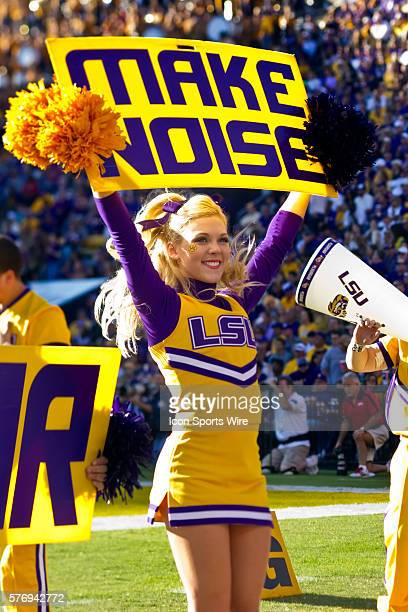 Mississippi Rebels at LSU Tigers LSU Tigers cheerleaders entertain the crowd during a game in Baton Rouge LA