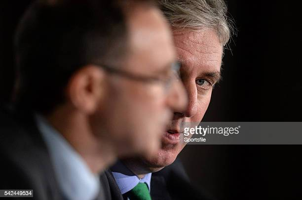 9 November 2013 FAI Chief Executive John Delaney and the new Republic of Ireland manager Martin O'Neill during his first press conference Gibson...