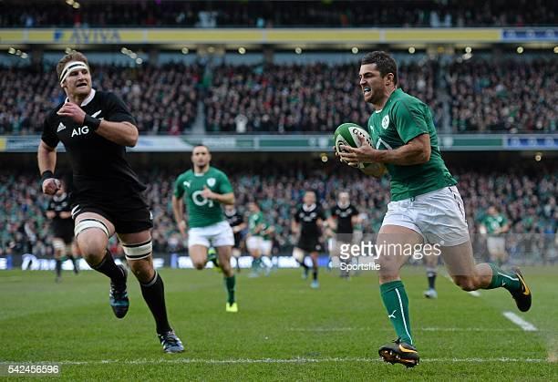 November 2013; Rob Kearney, Ireland, scores his side's third try. Guinness Series International, Ireland v New Zealand, Aviva Stadium, Lansdowne...