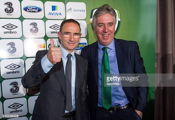 9 November 2013 The new Republic of Ireland manager Martin O'Neill and FAI Chief Executive John Delaney ahead of the press conference Gibson Hotel...