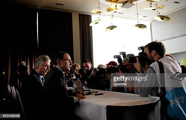 9 November 2013 The new Republic of Ireland manager Martin O'Neill and FAI Chief Executive John Delaney face the media during the press conference...