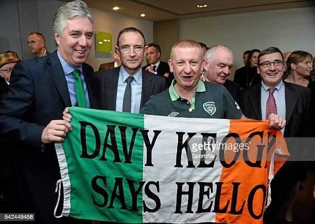 9 November 2013 The new Republic of Ireland manager Martin O'Neill centre FAI Chief Executive John Delaney left and Republic of Ireland supporter...