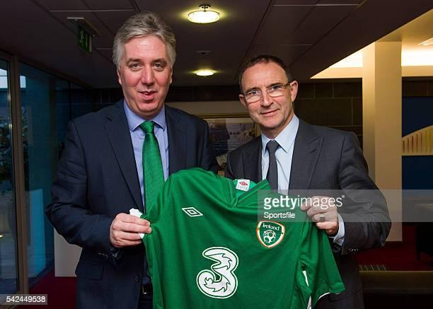 9 November 2013 The new Republic of Ireland manager Martin O'Neill right and FAI Chief Executive John Delaney Dublin Airport Dublin Picture credit...
