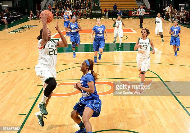 University of Miami forward Keyona Hayes shoots against Middle Tennessee State University in Middle Tennessee's 6155 victory at BankUnited Center...