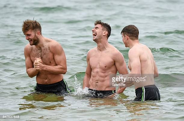 15 November 2014 Aidan O'Shea Colm Begley and Darren Hughes during a 'beach recovery session' after training ahead of their International Rules...