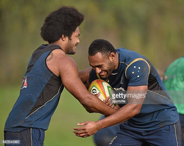 20 November 2014 Australia's Tevita Kuridrani is tackled by Henry Speight during squad training ahead of their side's Guinness Series match against...