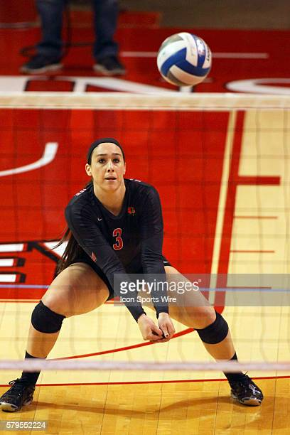 Emily Orrick stoops for a dig during an NCAA womens volleyball match between the Loyola Ramblers and the Illinois State Redbirds at Redbird Arena in...