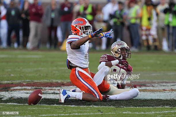 Florida Gators defensive back Vernon Hargreaves III signals no catch after breaking up a pass intended for Florida State Seminoles wide receiver...