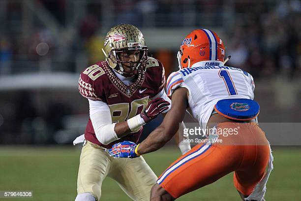 Florida State Seminoles wide receiver Rashad Greene is covered by Florida Gators defensive back Vernon Hargreaves III during the NCAA Football game...