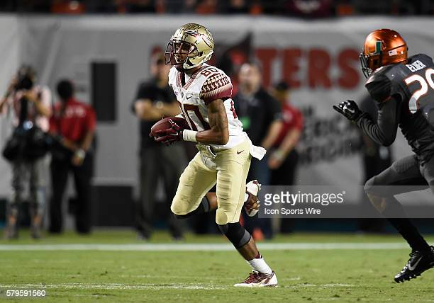 Florida State University wide receiver Rashad Greene plays against the University of Miami in FSU's 3026 victory at Sun Life Stadium Miami Florida