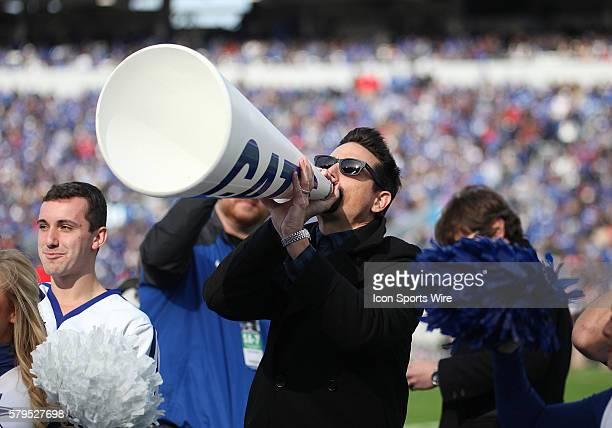 Kevin Richardson a Kentucky fan and member of The Backstreet Boys cheers on the Wildcats in a game between the Georgia Bulldogs and the Kentucky...