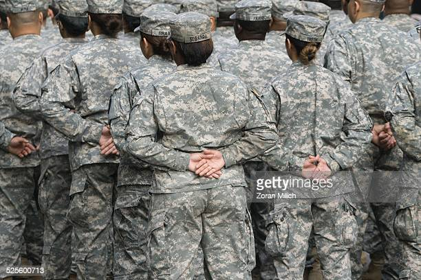 11 November 2014 Members of the military at ease during their march at the Veterans Day celebrations in the Manhattan Borough of New York New York USA
