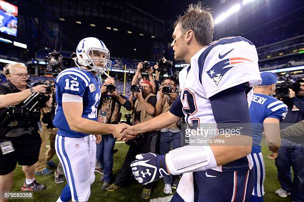 New England Patriots Quarterback Tom Brady [4012] and Indianapolis Colts Quarterback Andrew Luck [14978] shake hands after the game in action during...