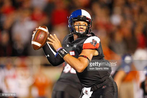 Red Raiders quarterback Patrick Mahomes looks to throw downfield during the first half of a 3413 University of Texas victory over Texas Tech...
