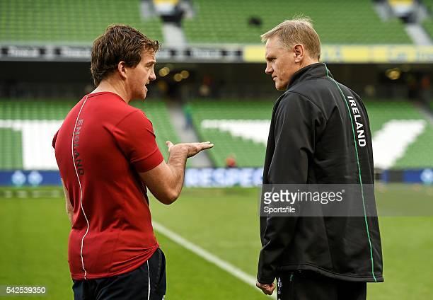 16 November 2014 Referee JP Doyle left in conversation with Ireland head coach Joe Schmidt before the game Guinness Series Ireland v Georgia Aviva...