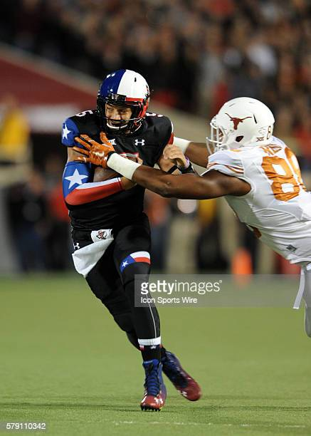 Texas Tech QB Patrick Mahomes is chased by Cedric Reed during 34 13 loss to the Longhorns at Jones ATT Stadium in Lubbock Texas