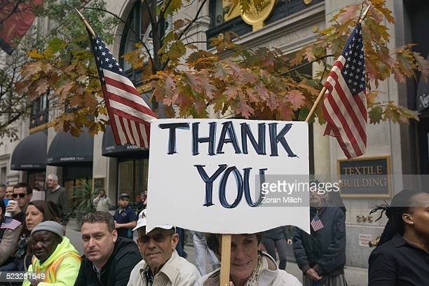 11 November 2014 Thank you signs at Veterans Day celebrations in the Manhattan Borough of New York New York USA
