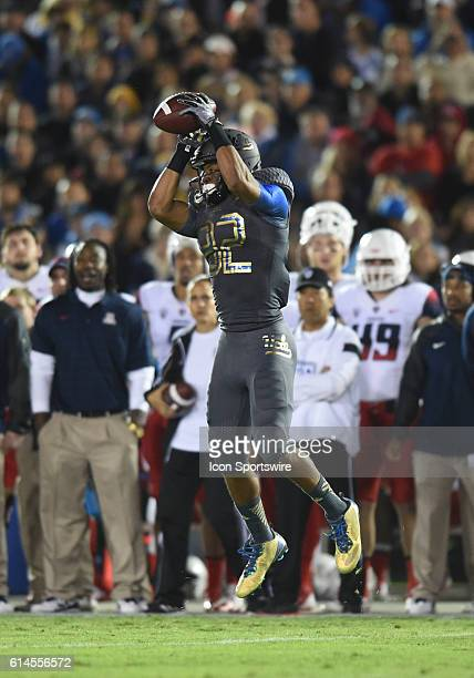 UCLA Eldridge Massington catches a pass during an NCAA football game between the Arizona Wildcats and the UCLA Bruins at the Rose Bowl in Pasadena CA