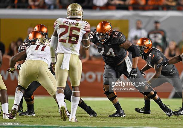 University of Miami offensive lineman Ereck Flowers plays against Florida State University in FSU's 30-26 victory at Sun Life Stadium, Miami, Florida.