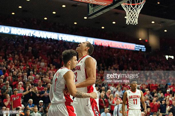 Arizona Wildcats guard Gabe York and forward Ryan Anderson react after a score during the NCAA basketball game between the Boise State Broncos and...