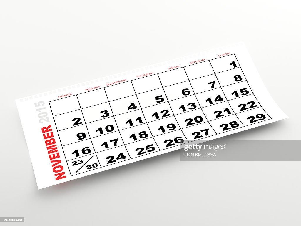 November 2015 calendar : Stock Photo