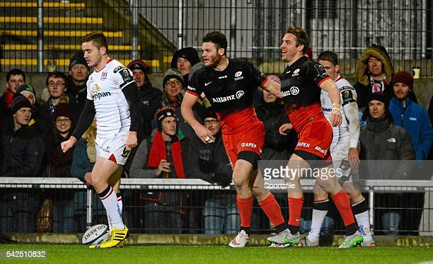 November 2015; Chris Wyles, Saracens, right, is congratulated by Duncan Taylor after running in his side's first try. European Rugby Champions Cup,...
