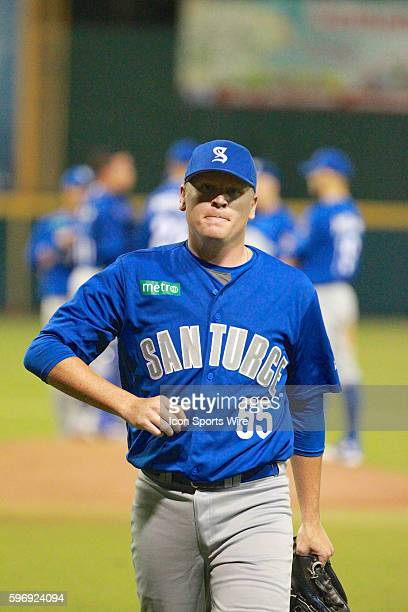 Criollos Daniel Stumpf leaves the game after pitching during an LBPRC Baseball game between the Criollos de Caguas and the Cangrejeros de Santurce at...