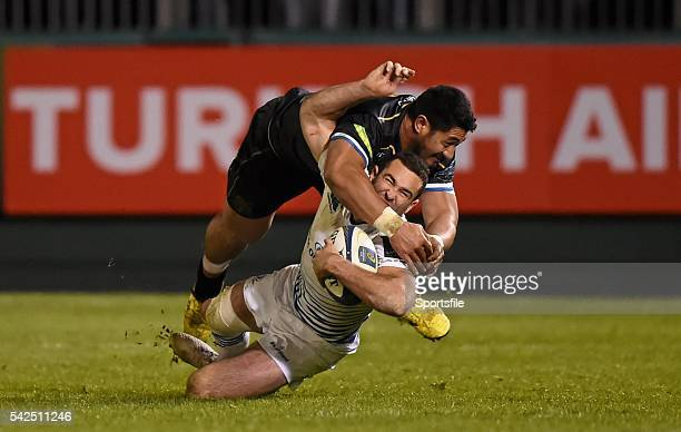 21 November 2015 Dave Kearney Leinster is tackled by Alafoti Fa'osiliva Bath for which he received a yellow card European Rugby Champions Cup Pool 5...