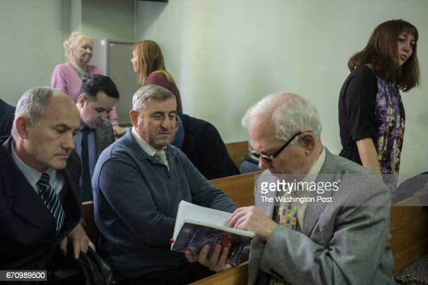 Defendants of the Taganrog Jehovah's Witnesses case and their attorneys gather in the courtroom before the hearings 16 Jehovah's Witnesses are...