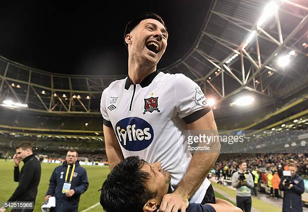 8 November 2015 Dundalk FC goalscorer Richie Towell celebrate after the game Irish Daily Mail Cup Final Dundalk FC v Cork City FC Aviva Stadium...
