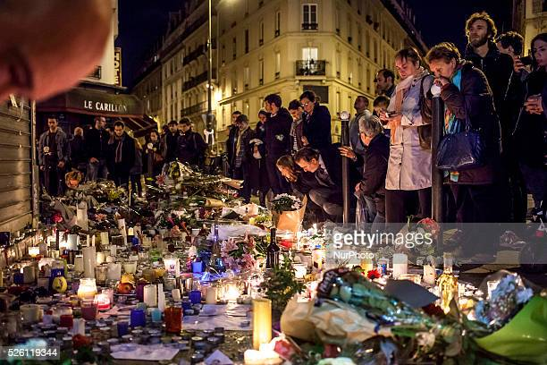gathering at quot le petit cambodge quot restaurant in memories of the victims of the terrorist attacks in paris claimed by the Islamic state...