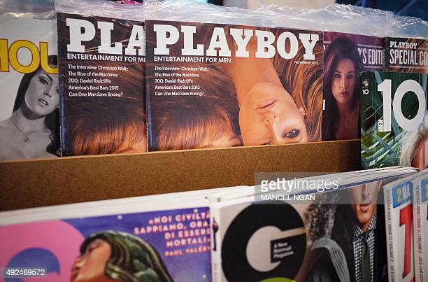 November 2015 issues of Playboy magazine are seen on the shelf of a bookstore in Bethesda Maryland on October 13 2015 Playboy said Tuesday it will...