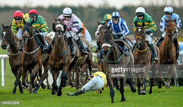29 November 2015 Jockey Andrew Ring is thrown from his horse Beckwith Star after the fourth fence during the Underwriting Exchange Handicap Hurdle...