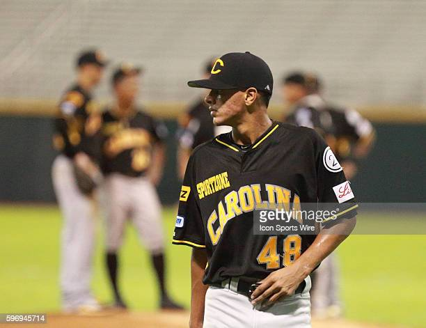 Jose Espada pitching for the Gigantes in a LBPRC Baseball game between the Los Gigantes de Carolina and the Cangrejeros de Santurce at the Hiram...