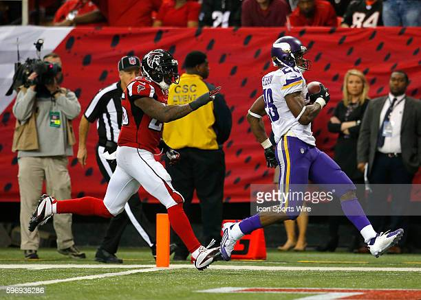 Minnesota Vikings running back Adrian Peterson rushes in for a touchdown in the Minnesota Vikings 2010 victory over the Atlanta Falcons at the...