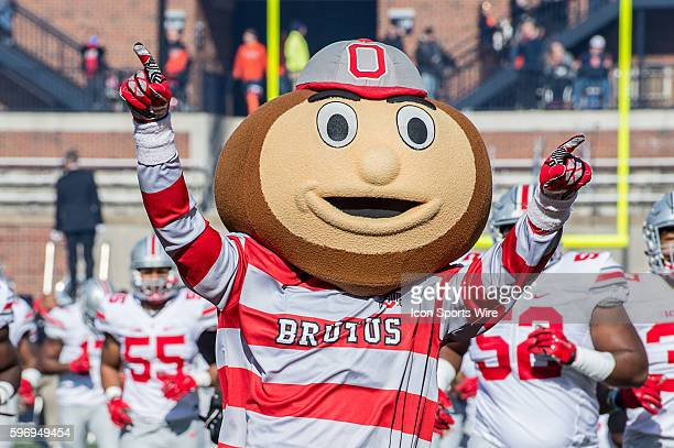 Ohio State Mascot Brutus Buckeye leades the Ohio State Buckeyes onto the field in action during a Big Ten football game between the Illinois Fighting...