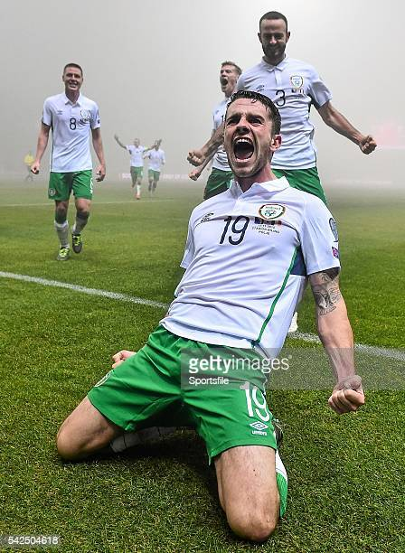 13 November 2015 Robbie Brady Republic of Ireland celebrates after scoring his side's first goal with teammates UEFA EURO 2016 Championship Qualifier...
