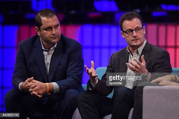 5 November 2015 Shervin Pishevar left CoFounder CoCEO Sherpa Ventures with Rob Lloyd CEO Hyperloop on the Centre Stage during Day 3 of the 2015 Web...