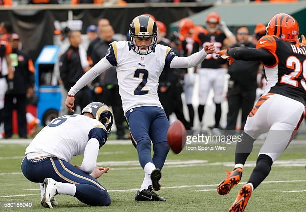 St Louis Rams kicker Zach Hocker and holder Johnny Hekker kick against the Cincinnati Bengals at Paul Brown Stadium in Cincinnati Ohio