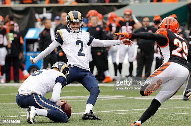 St Louis Rams kicker Zach Hocker and holder Johnny Hekker kick against the Cincinnati Bengals at Paul Brown Stadium in Cincinnati Ohio
