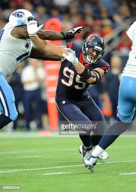 Texans DE J J Watt gets by Jeremiah Poutasi during the Houston Texans 206 win over the Tennessee Titans at NRG Stadium in Houston TX