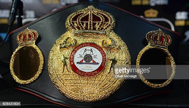 November 2016 A general view of the WBA featherweight belt during a Carl Frampton v Leo Santa Cruz press conference at the Europa Hotel in Belfast Co...